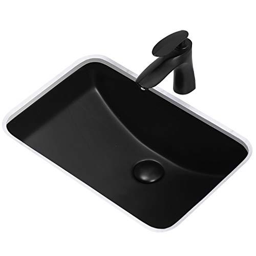 Lavabos Lavabo Del Baño Lavabo De Cerámica Empotrado Lavabo Rectangular Bajo Encimera Lavabo Nórdico Negro Mate Para El Hogar (Color : Black, Size : 45x35.5x20cm)