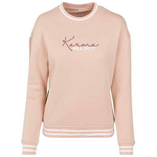 Shirtfun24 Damen Statement Karma Will do it Rosegold Print Contrast Sweater Sweatshirt, rosa, XS