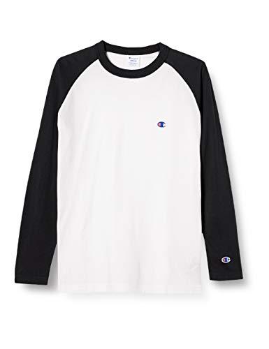 [チャンピオン] ロングTシャツ 長袖Tシャツ 綿100% 定番 ラグランスリーブ ワンポイントロゴ刺繍 ロングスリーブラグランTシャツ C3-P402 メンズ ブラック L