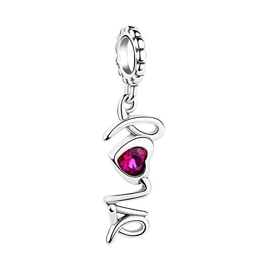 LILIANG Charm Jewelry Romántico Pink Crystal Love Heart Charm Auténticas Cuentas De Plata Esterlina 925 Fit Original Charms Pulsera DIY Jewelry