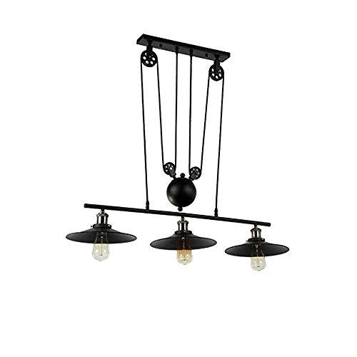 ZAKRLYB E27-3 luces de la lámpara de American Retro Loft colgante, ajustable Hierro forjado Polea luz colgante, Barra de cocina Dormitorio Sala Comedor Pasillo de iluminación