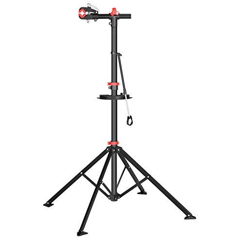 SONGMICS Fahrradmontageständer, Reparaturständer für Fahrräder, Fahrradreparaturständer für Profis, mit Schnelllösevorrichtung, Werkzeugschale, Lenkerhalter, leicht, tragbar, schwarz-rot SBR06B
