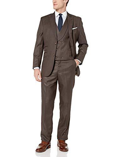 Adam Baker Three-Piece Brown Modern Fit Suit