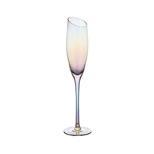 Sektgläser Beiläufig 180ml Abschrägung Rotweinglas Champagner Glas Cocktail Glas Kristallglas Stemware Glas Haushalt 6.5x27cm Lostgaming (Color : Multi-Colored)