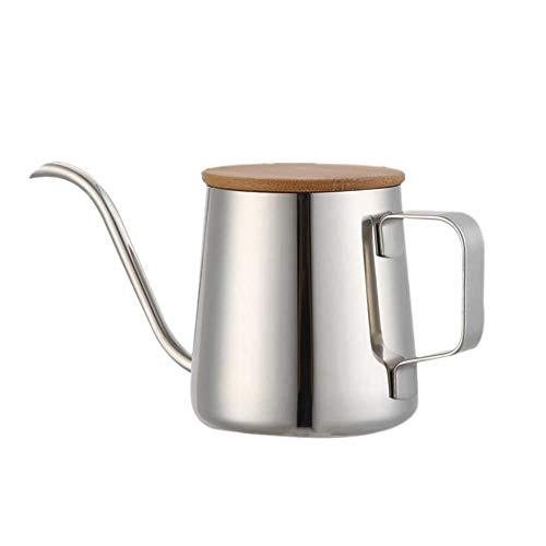 コーヒー ポット ドリップコーヒー ケトル 蓋付き キッチン用品 ドリップポット 人気 1人用 ステンレス 細口 珈琲 やかん 軽量 コーヒー、紅茶、ミルク お茶などにも対応 クッキング用品 350ml 銀