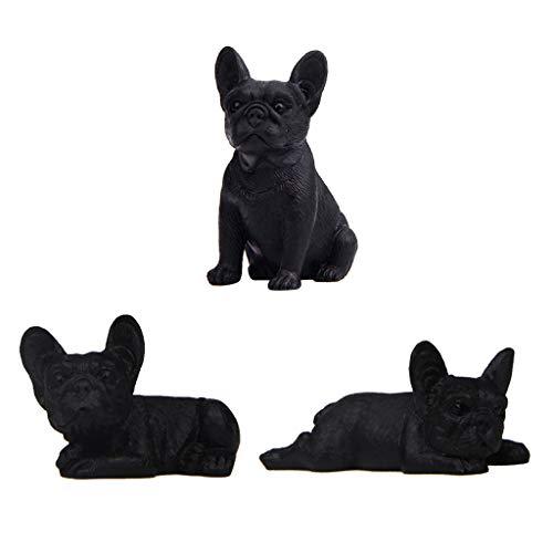 Gazechimp 3pcs Mini French Bulldog Model Animal Figure Toy Doll House Decorations