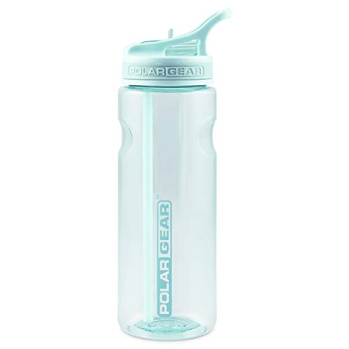 Polar Gear Aqua Grip Bottle – BPA-Free Reusable Sports Water Bottle & Foldable Straw – Drink at the Gym, in the Car & Outdoors – Clear Tritan Plastic & Dishwasher Safe – Mint Green, 650ml