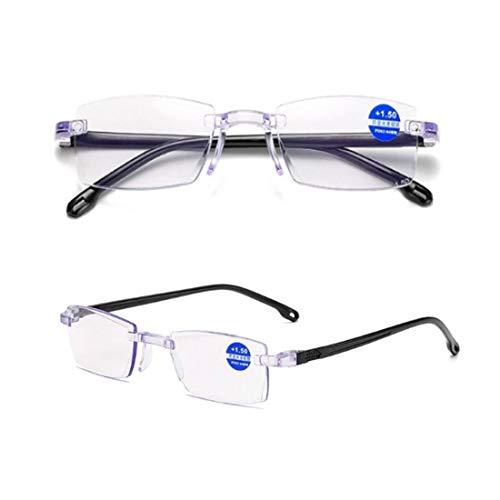 Zafiro de Alta dureza Anti-Azul Progresiva Lejana y cercana Lectura de Doble Uso, Gafas para miopía en Ancianos (+ 2.00/45-50 AÑOS DE Edad)
