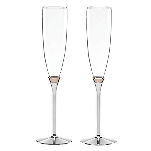 Kate Spade New York Rosy Glow 2-Piece Champagne Toasting Flute Set, Silver-plated Metal and Crystal