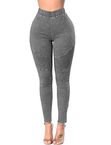 Jueshanzj Jeans skinny da donna a vita alta in denim elasticizzato - grigio - L