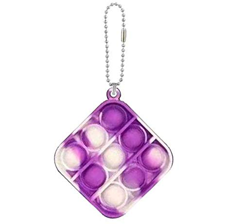 Fidget Toys Stress Relief Hand Toys Simple Dimple Toy for Kids Adults Anxiety Autism Silicone Sensory Toys Keychain Bubble Wrap Pop Toy (A-Square Tie Dye White Purple)