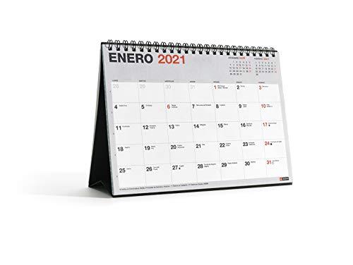 MIQUELRIUS - Calendario de Sobremesa 2021 Básico - Español, A5 210 x 148,5 mm con espacio para escribir y apuntar, Color Gris