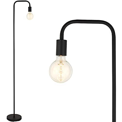 BBHome Lámpara de pie retro curvada minimalista de metal con interruptor de pie para dormitorio, salón, lectura, oficina, 165 cm, E27 (negro)