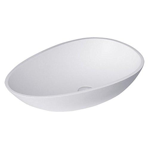 STONEART wastafel LC150 (mineraalgiet) wit/60x35cm/glanzend