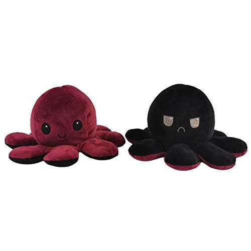 YANLE Octopus Plüschtier Reversibler Octopus Plüsch Doppelseitige Flip Octopus Puppe Weiche Reversible Octopus Stofftierpuppe Geschenke für Kinder Mädchen Jungen Freunde