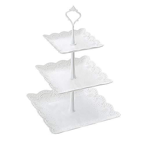 favourall 3 Etagen Servierplatte, 3 stöckig Tortenplatte tortenständer 3 etagen für Obst Dessert Hochzeitstorte 24 * 24 * 37cm, Party, Hochzeit, Geburtstag