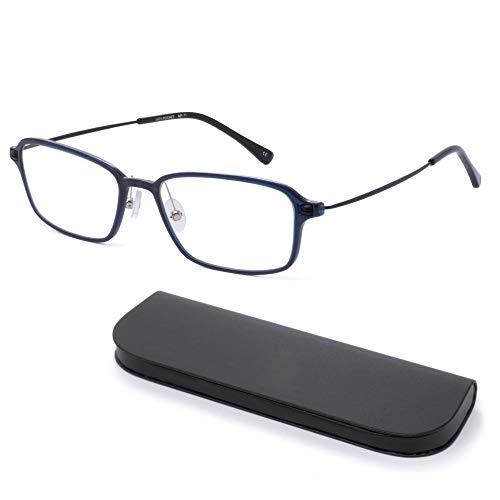 MIDI-ミディ おしゃれ 老眼鏡 MIDIポケット 14mmの極薄メガネケースに収納 ブルーライトカット 紫外線カット メンズ 軽量 ダークブルー (MP-11,C3,+0.75