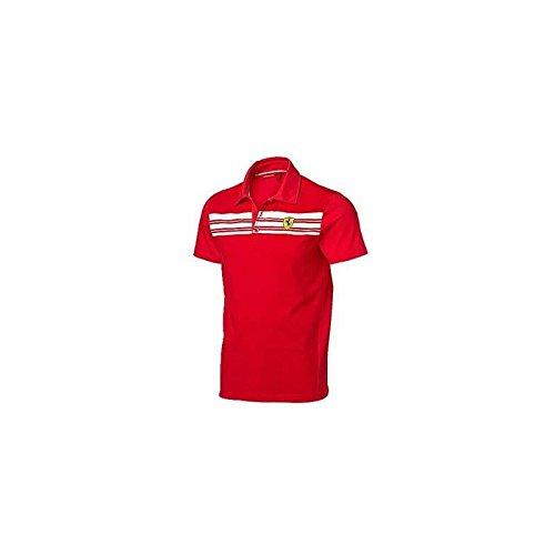 Ferrari - Polo a Righe da Uomo, Taglia L, Colore: Rosso