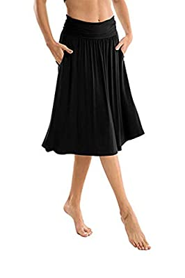 Chiczone Women Fold Over Ruched Waist Band A-Line Comfy Midi Skirts with Pockets