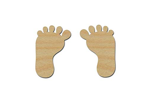 """Baby Feet ALET44 Shape Unfinished Wood Cut Out DIY Crafts Variety of Sizes Artistic Craft Supply (2"""" Inch 2 Pieces)"""