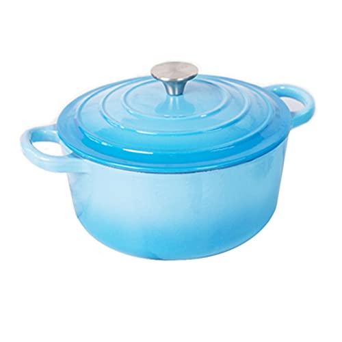 HDHUIXS Pote de Hierro Fundido esmaltado, Plato de cazuela Ligero con Tapa, Aluminio Fundido, Seguro de inducción, Azul, Azul, 3,2 litros / 22 cm (Size : Style-A)