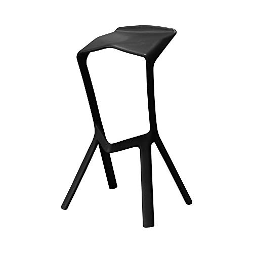 Stijlvolle lichte en hoge barkruk bankhoogte 75 cm (30 inch), polypropyleenstructuur, zwarte spuitverf, gebruikt in restaurants, bars, cafés, balie