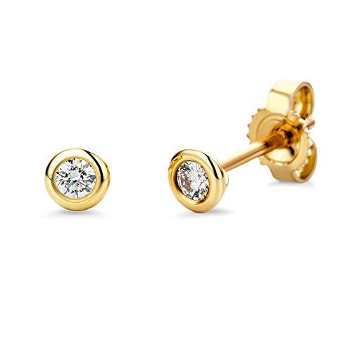 Miore Damen Gelbgold Diamant Solitär Ohrstecker Ohrringe 14KT (585) mit Diamant Brillanten 0.10 ct