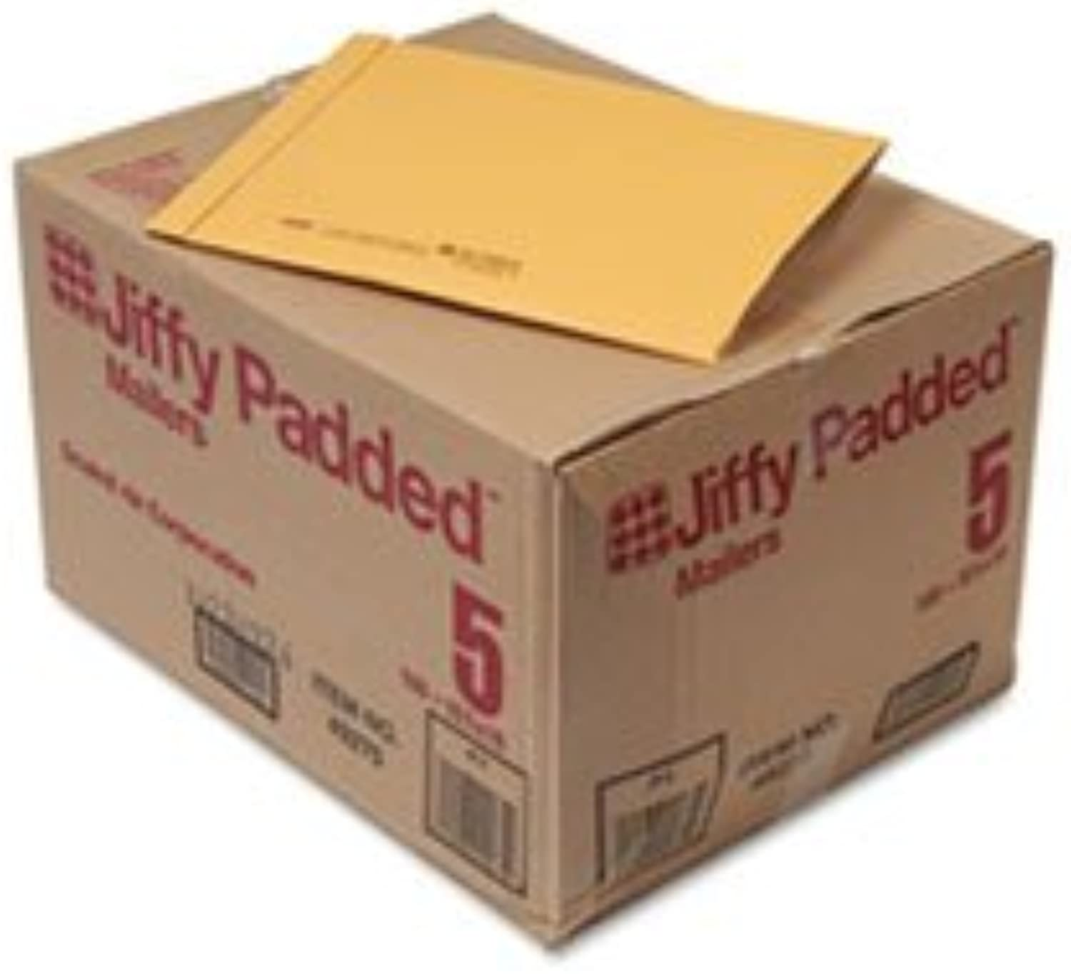 - Jiffy Padded Mailer, Side Seam,  5, 10 1 2 x 16, golden Brown, 100 Carton
