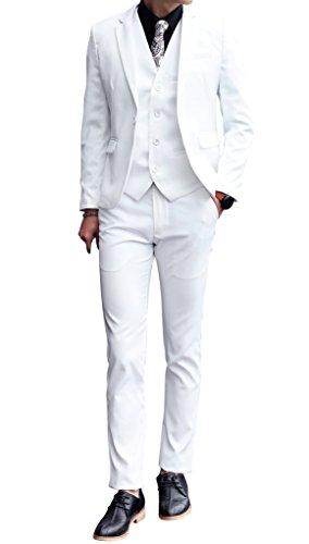 MOGU Mens 3 Piece White Dress Suit Set US Size 36 White