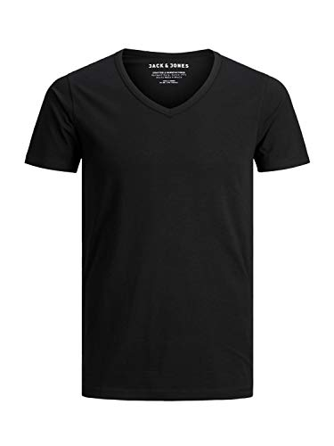 JACK & JONES 3er Pack Herren T-Shirt Basic V-Ausschnitt oder Rundhals einfarbig Slim Fit in weiß schwarz blau grau (M, 3er Pack V Farbmix)