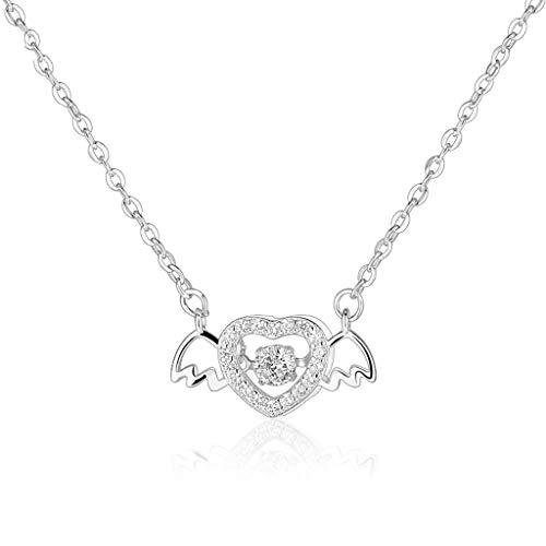 Collares Angel Love Collar para mujer S925 Collar chapado en oro plata con alas de ángel colgante de circonita en forma de corazón, gran regalo – Collares de oro/plata para hombre/mujer (color plata)