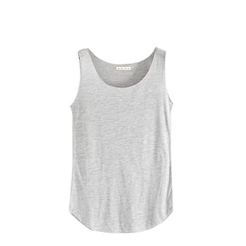 Camisetas sin Mangas Mujer,SHOBDW Primavera Verano Sólido Sin Mangas Cuello Redondo Suave Hombro FríO Sueltas Sueltas Camiseta Blusa Diaria Camisetas De Tirantes para Mujeres