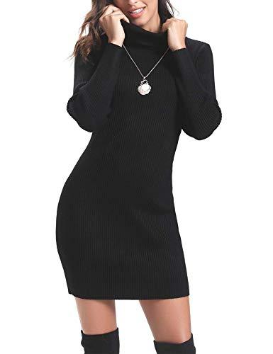 Aibrou Vestido a Punto Cuello Alto para Mujer,Vestido de Jerséy Elegante Clásico Ajustado,Sexy Sueter Falda de Cadera,Primavera, Otoño, Invierno Negro L