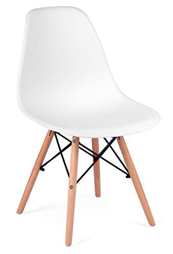 Sofotel Moderner skandinavischer Stuhl Wohnzimmerstuhl Esszimmerstuhl Delta weiß (1)