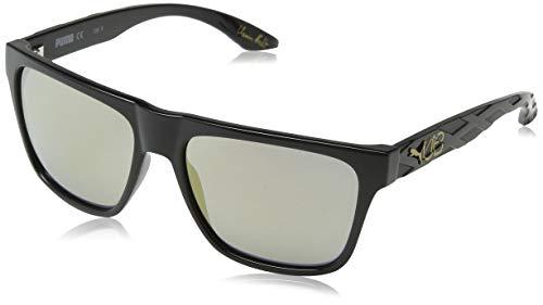 PUMA Herren PU0008S 007 Sonnenbrille, Schwarz (Black/Gold), 57