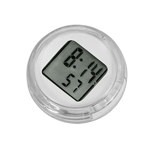 Moto Impermeable Reloj Digital Reloj de Motocicletas Reloj de Moto Stick-On Monte Reloj Traje Todo Moto Fácil Instalación Universal Accesorios para Moto (Color : White)