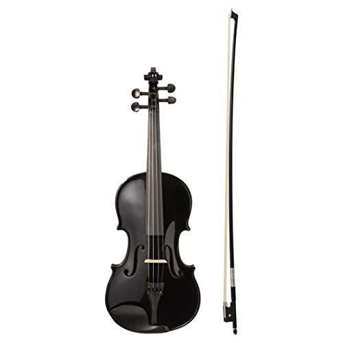 AmazonBasics Beginner Violin Bundle, Full Size, Solid wood,Black - Bow, Strings, Strap, Tuner, Rosin, and Case