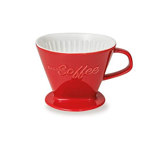 Creano Porzellan Kaffeefilter (rot), Filter Größe 4 für Filtertüten Gr. 1x4, ca. 800gr Gewicht für extrem sicheren Stand, Achtung schwer, in 6 Farben erhältlich