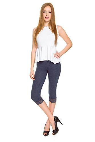 SOFTSAIL Damen Capri-Leggings mit Spitzeneinsatz 3/4 Dehnbare Hose aus Baumwollanteil Gr. 42, denim