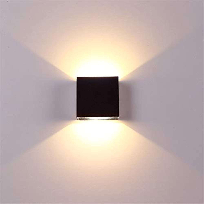 XY&XH Wandlampe, 6W lampada LED Aluminium Wandleuchte Projekt Quadrat LED Wandleuchte Schlafzimmer Schlafzimmer Wandlampen Kunst, Schwarz, Warmwei
