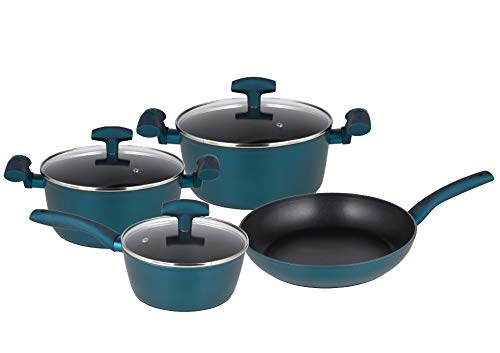 Michelino Nora - Batería de Cocina de 7 Piezas con Tapa de Cristal, Color Azul