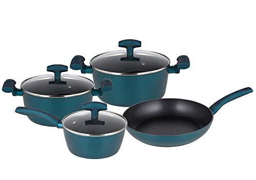 Michelino Nora - Batería de cocina (7 piezas, con tapas de cristal), color azul