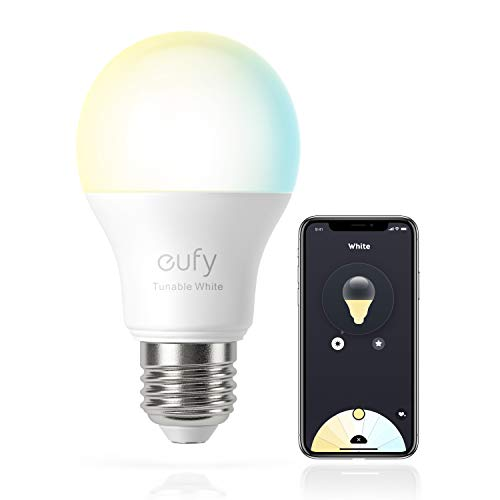 eufy by Anker, Lumos Smart Bulb 2.0 - Tunable White, Soft White to Daylight, 9W, Works with Amazon Alexa and The Google Assistant, No Hub Required, Wi-Fi, 60W Equivalent, Dimmable LED Bulb, A19, E26,