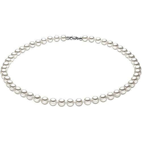COMETE Collana da Donna in Oro Bianco 750 con Perla Acqua Salata Sferico FSQ 104