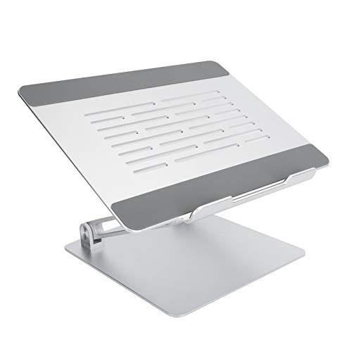 Soporte para computadora portátil, ángulo Libre Ajustable, Soporte ergonómico Plegable, aleación de Aluminio + Soporte de liberación de Calor para computadora portátil de hasta 17 Pulgadas(Plata)