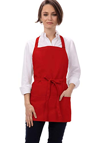 Chef Works Unisex Three Pocket Apron, Red, 24-Inch Length by 28-Inch Width