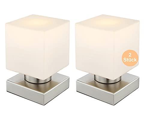 Nachttischlampe 2er Set Touch - LED Tischlampe 2 Stück Eckig - Tischleuchte mit Touchfunktion - Nachttischleuchte Schlafzimmer - Leuchtmittel 3 Watt Warmweiß - 15 x 15 cm