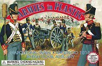 Napoleonic Wars Waterloo 1815 British Royal Artillery Crew (5) w/Cannon 1/32 Armies in Plastic by Armies in Plastic