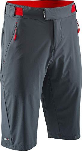 SILVINI Herren Talfer MTB Kurze Hose aus Atmungsaktivem 4 Wege Stretch Material mit Klettverschluss Kohle/Rot - XXL