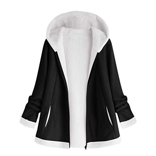 BOLANQ Damen Herbst Winter Bequem Lässig Mode Jacke Frauen Mode Frauen Knopf Mantel Flauschige Schwanz Tops Mit Kapuze Lose Mantel(XXXXX-Large,Schwarz)